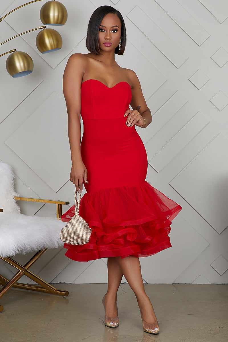 Tulle Midi Dress (Red) by Lilly's Kloset