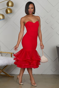 Tulle Midi Dress (Red)