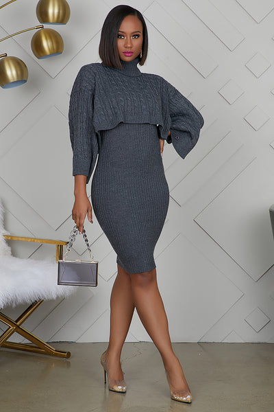 Poncho Sweater Dress (Charcole)