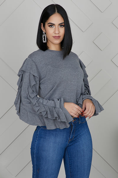 Ruffle Sleeves Sweater (Grey)- FINAL SALE
