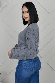 Ruffle Sleeves Sweater (Grey)