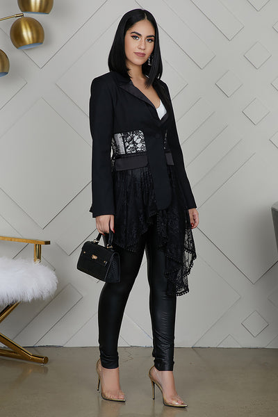 Asymmetrical Lace Blazer (Black)