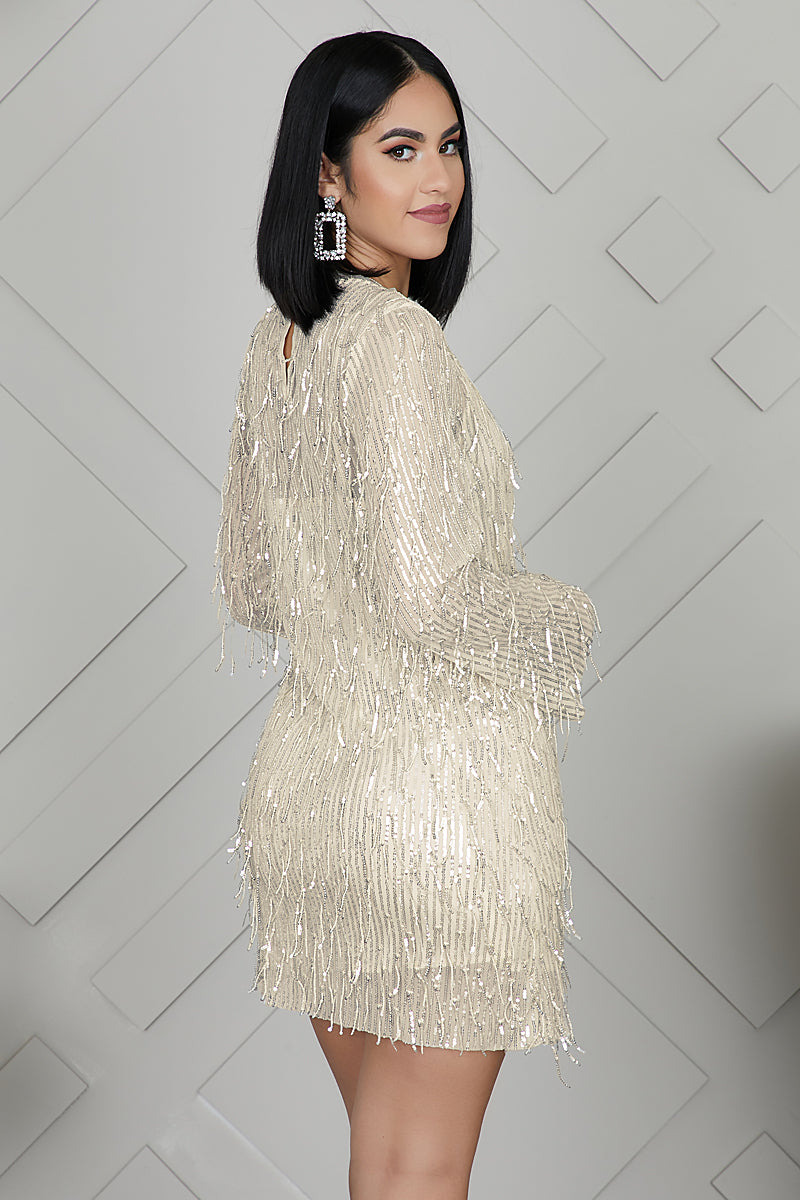 Champagne Sequins Shift Dress