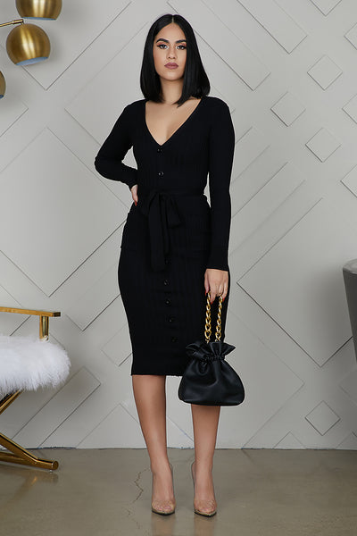 Button Me Ribbed Dress (Black)