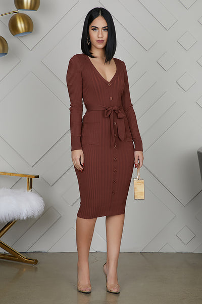 Button Me Ribbed Dress (Brown)