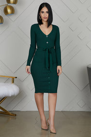 Button Me Ribbed Dress (Hunter Green)