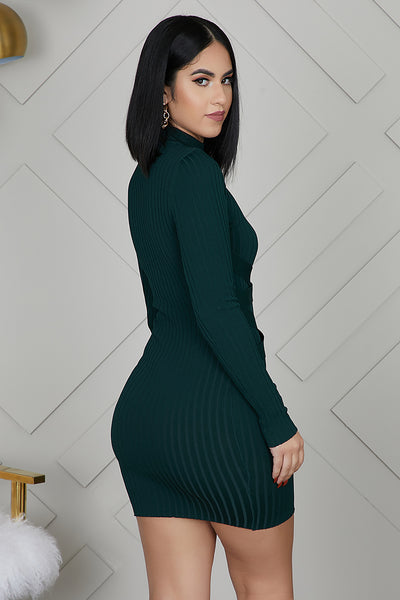 Mini Bandage Ribbed Dress (Dark Green)