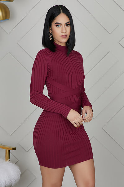 Mini Bandage Ribbed Dress (Wine)