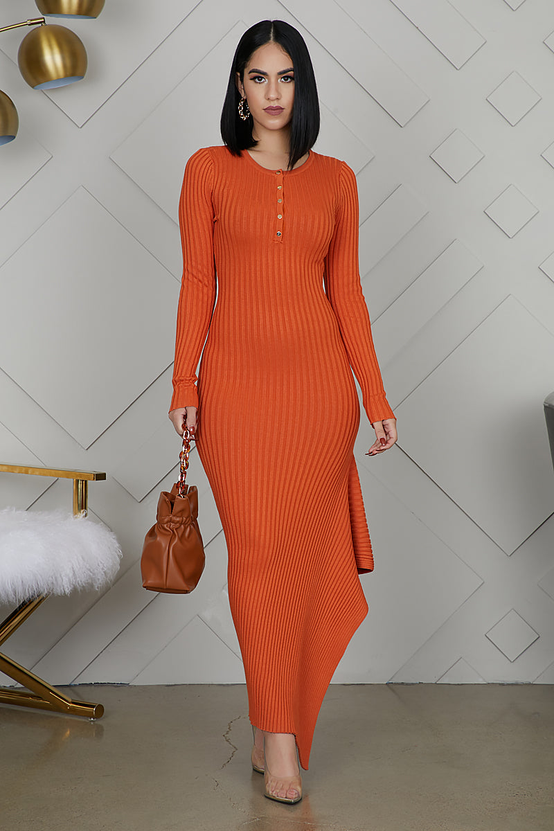 Asymmetrical Knit Dress (Orange)