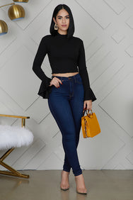 Bell Sleeve Top (Black)