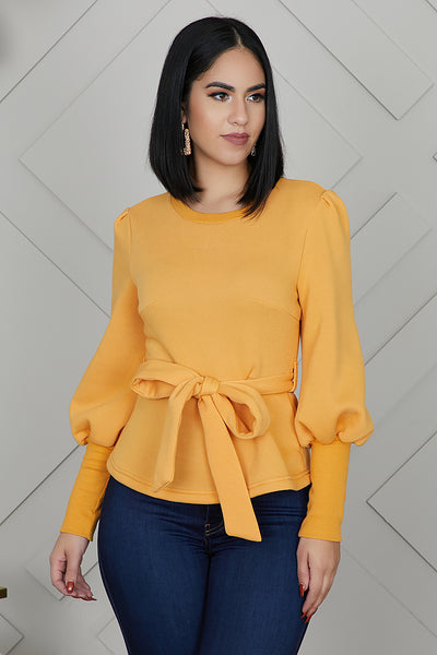 Tie Me Up Sweater (Mustard)- FINAL SALE