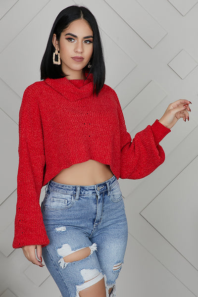 So Plush Crop Sweater (Red)- FINAL SALE