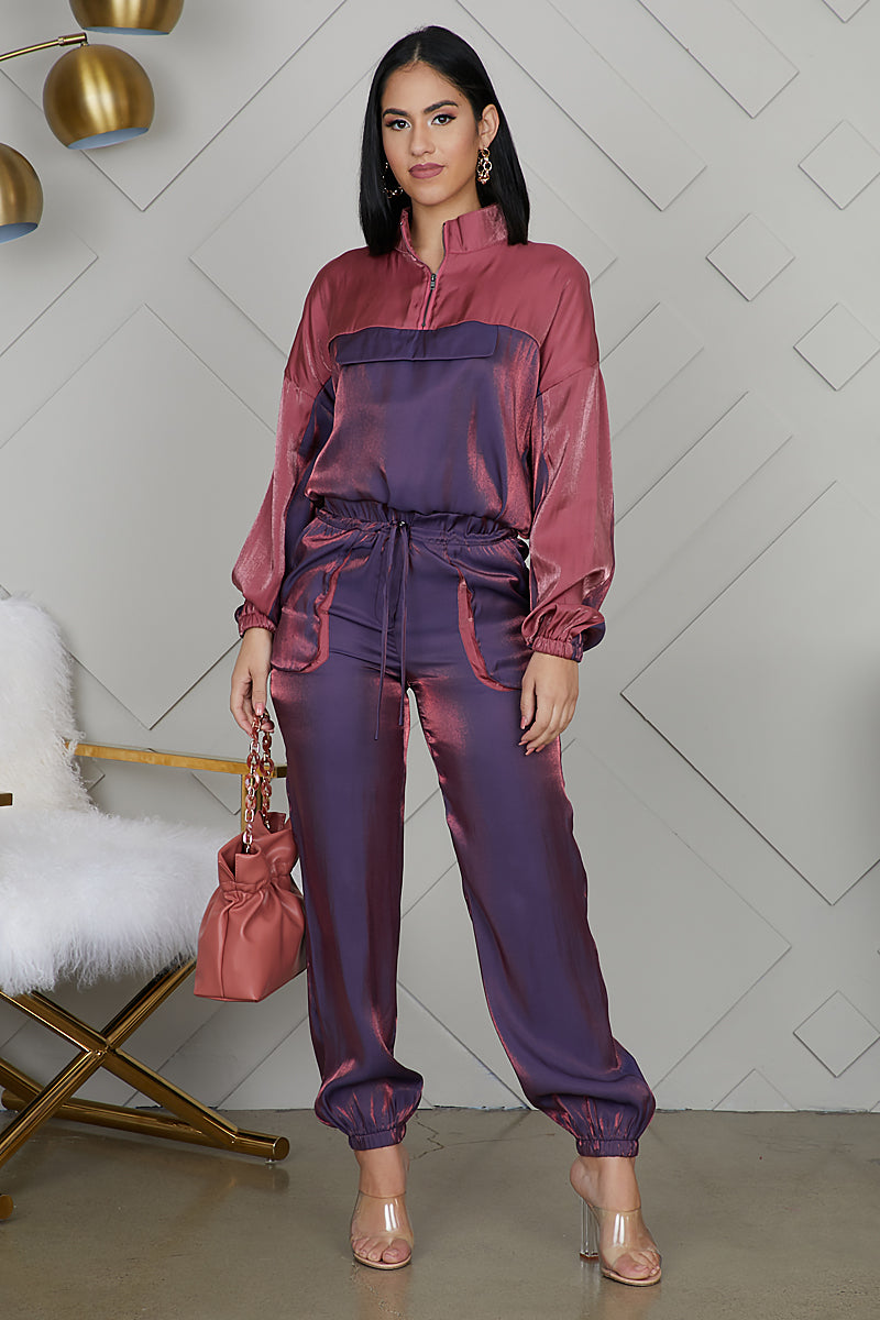 Mauve Iridescent Tracksuit Set  Preorder Only Ships 12/13 by Lilly's Kloset