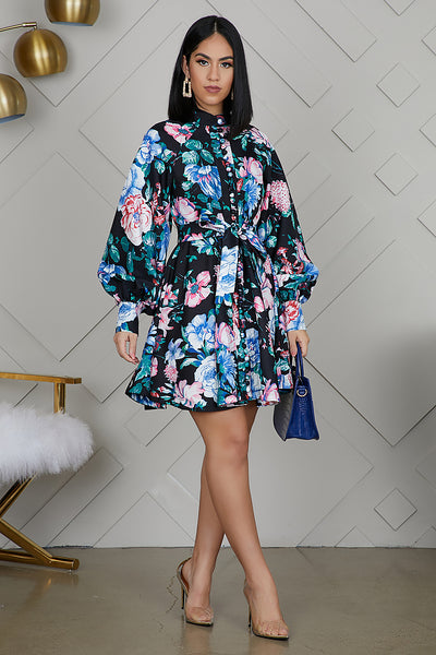 Floral Balloon Sleeve Baby Doll Dress