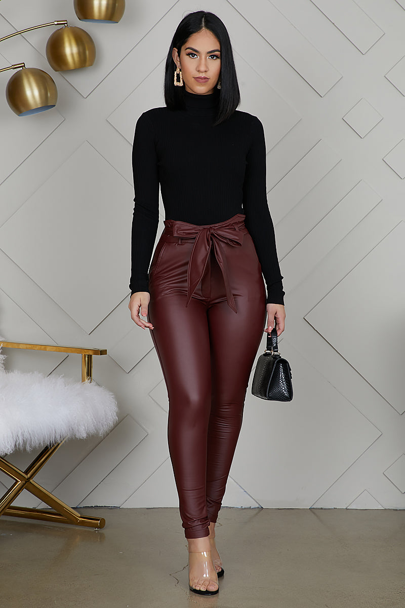 High Waist Faux Leather Pants (Deep Wine) by Lilly's Kloset