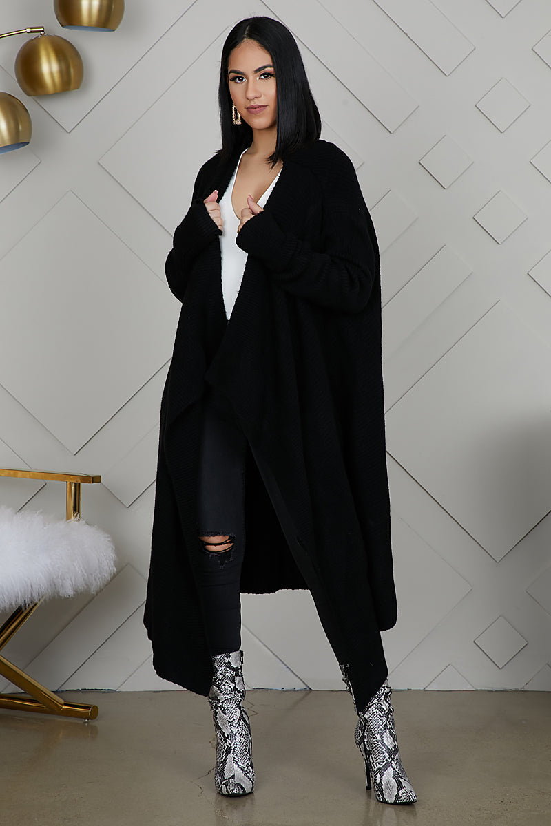 Let It Flow Knit Cardigan (Black)