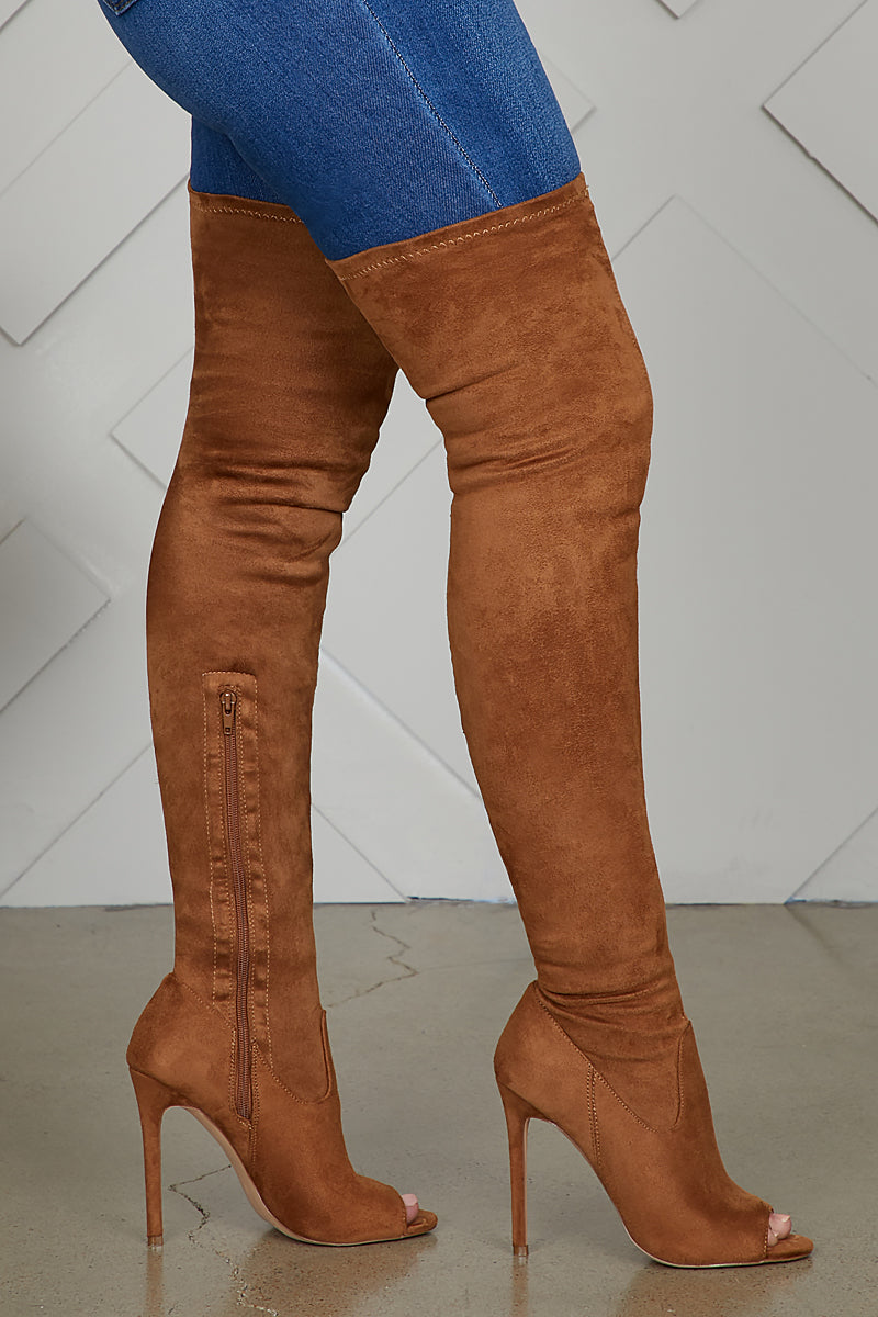 Lori Thigh High Peep Toe Boot (Tan)