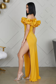 Shoulder Action High Slit Maxi Dress (Mustard)