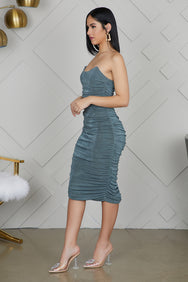 Ruched Fitted Dress (Mint)