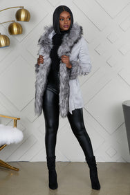 Yukon Hooded Faux Fur Jacket (Grey)