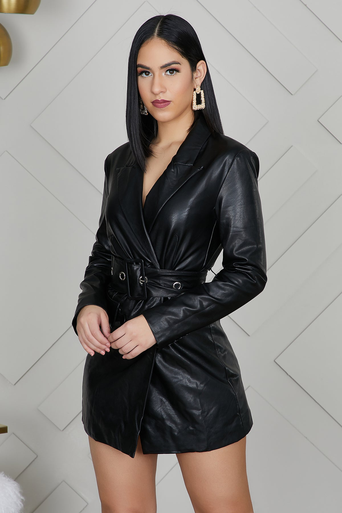 Faux Leather Mini Blazer Dress- FINAL SALE
