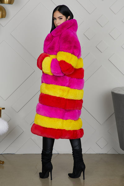 Rami Multi Color Faux Fur Jacket