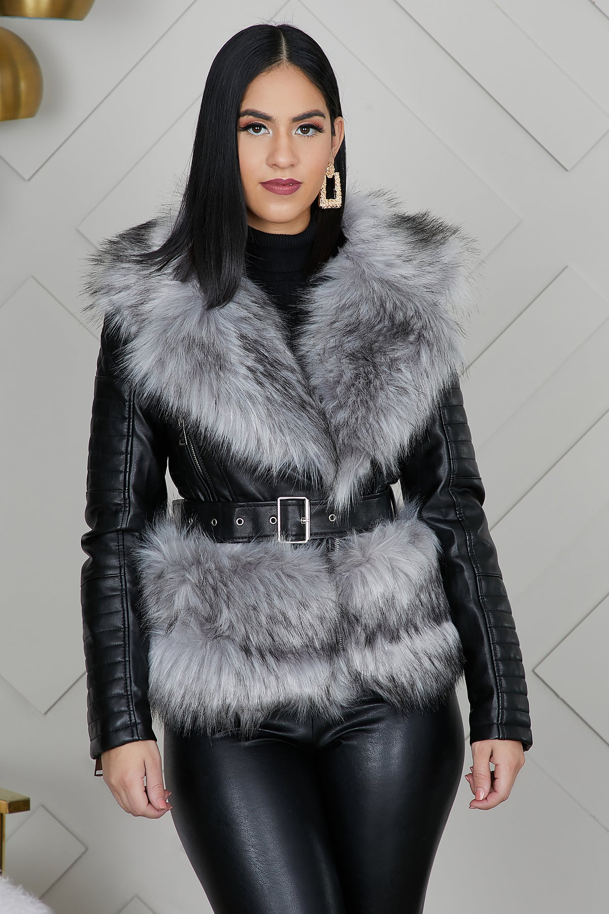 Quilted Leather Fur Jacket (Grey/Black) by Lilly's Kloset