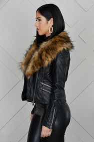 Brown Fur Lined Collar Leather Jacket