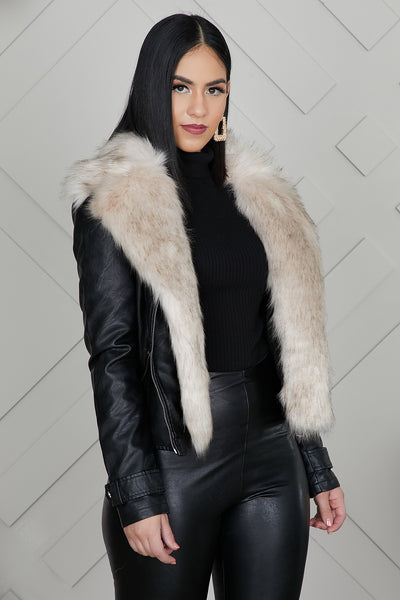 Adele Moto Leather Jacket With Fur Collar