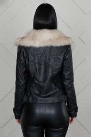 Adele Moto Leather Jacket With Fur Collar- PREORDER ONLY SHIPS 12/11