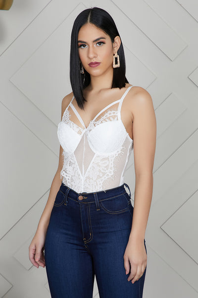 Laced Bodysuit (White)