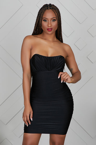 Sweetheart Ruched Bodycon Dress- FINAL SALE