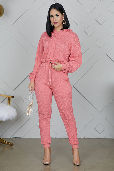 Peach Hooded Knit Set