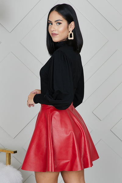 Red Faux Leather Skater Skirt- FINAL SALE