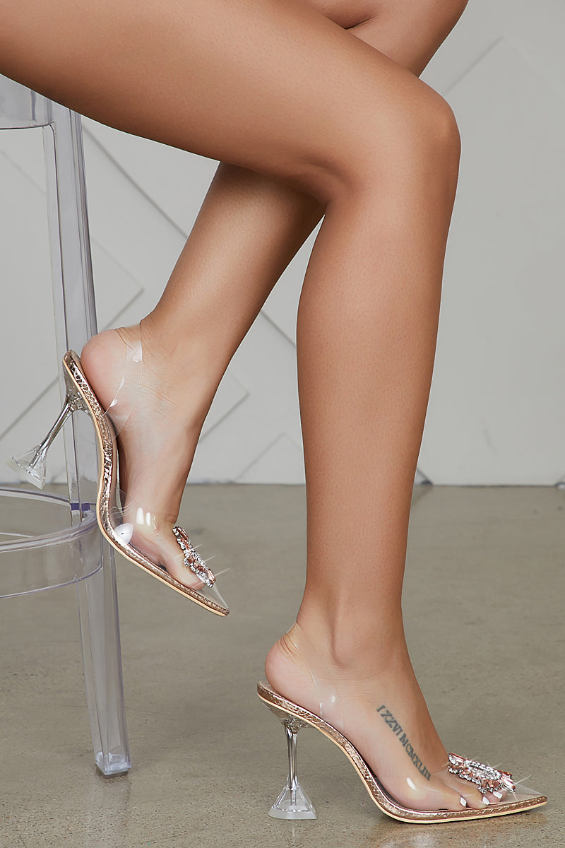 Glassy Jewel Heel (Rose Gold)