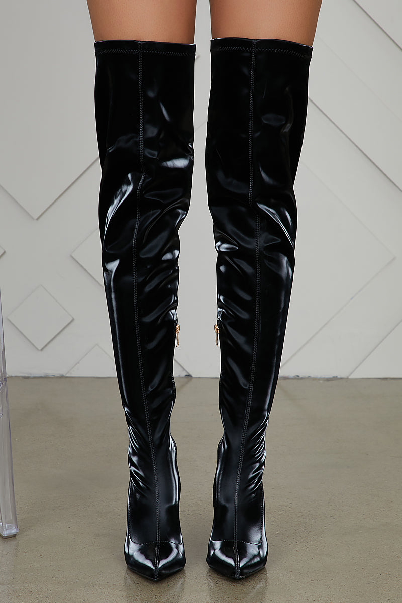 Liquid Velvet Thigh High Boots- FINAL SALE