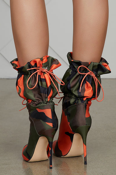 Camo Bomber Booties (Orange/Olive)