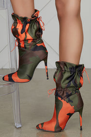 Camo Bomber Booties (Orange/Olive)- PREORDER ONLY SHIPS 12/31
