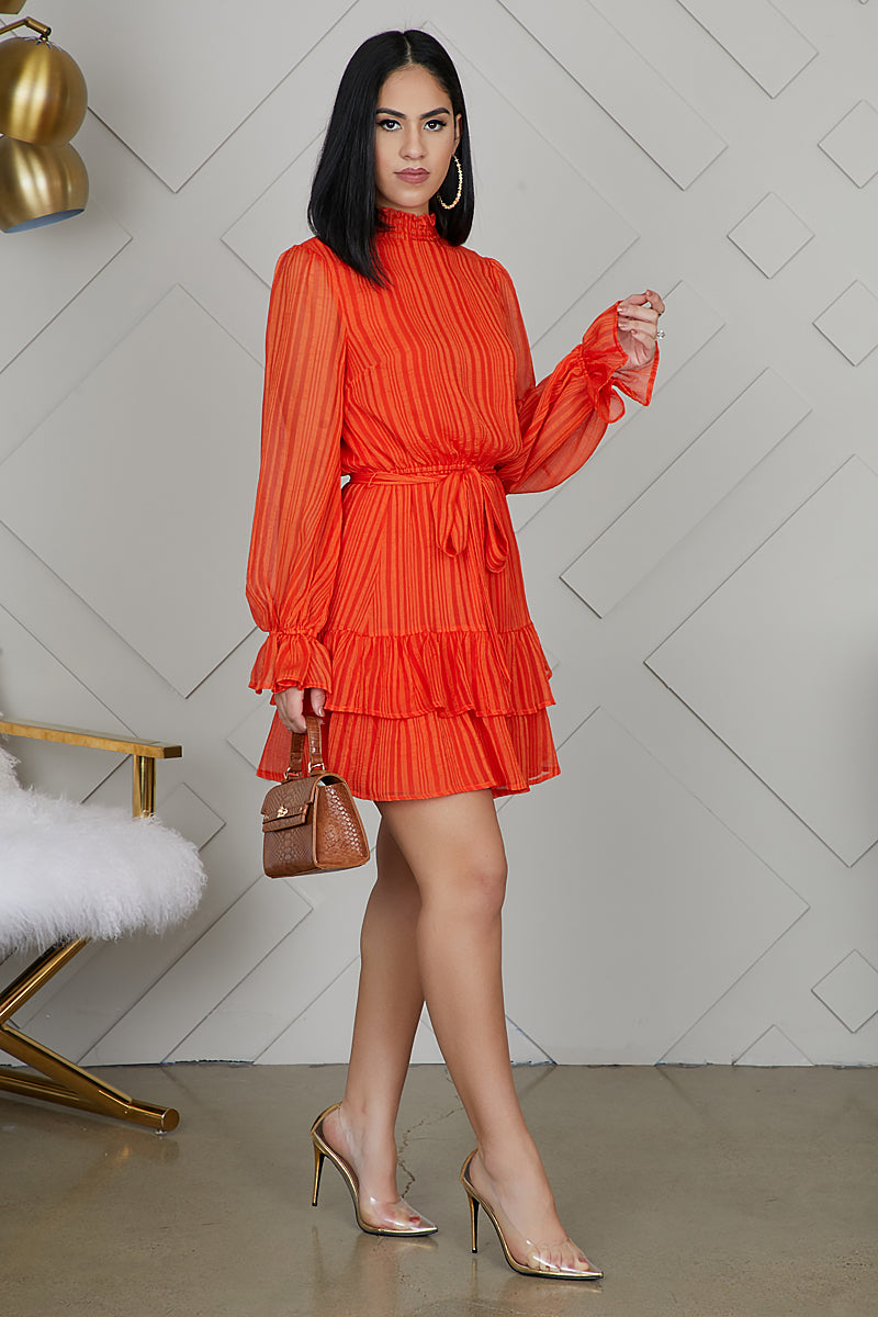 Ruffle Up Dress (Orange)