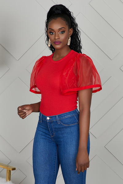 Tulle Sleeve Top (Red)- FINAL SALE