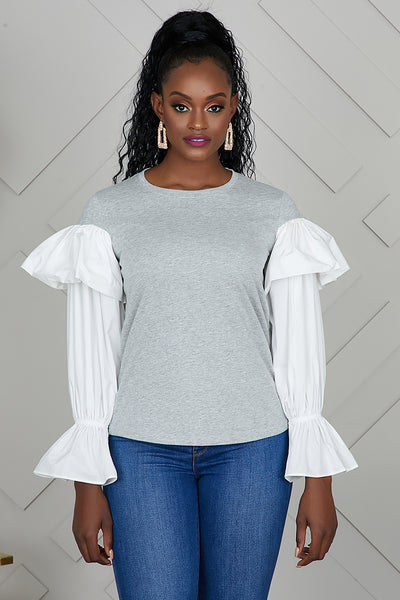 Dramatic Sleeve Sweater (Grey)- FINAL SALE