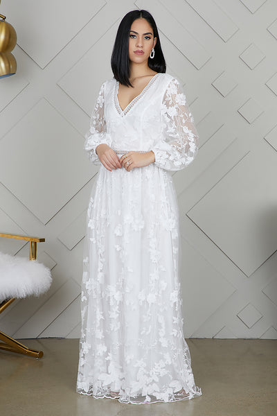 Embroidered Flowy Maxi Dress (White)- FINAL SALE