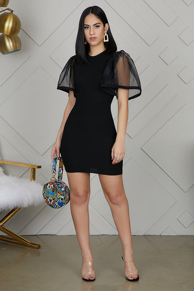 Tulle Puff Sleeve Bodycon-FINAL SALE