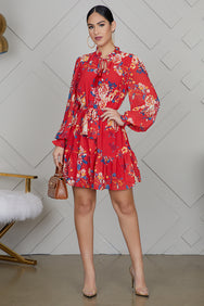 Red Floral Mini Dress