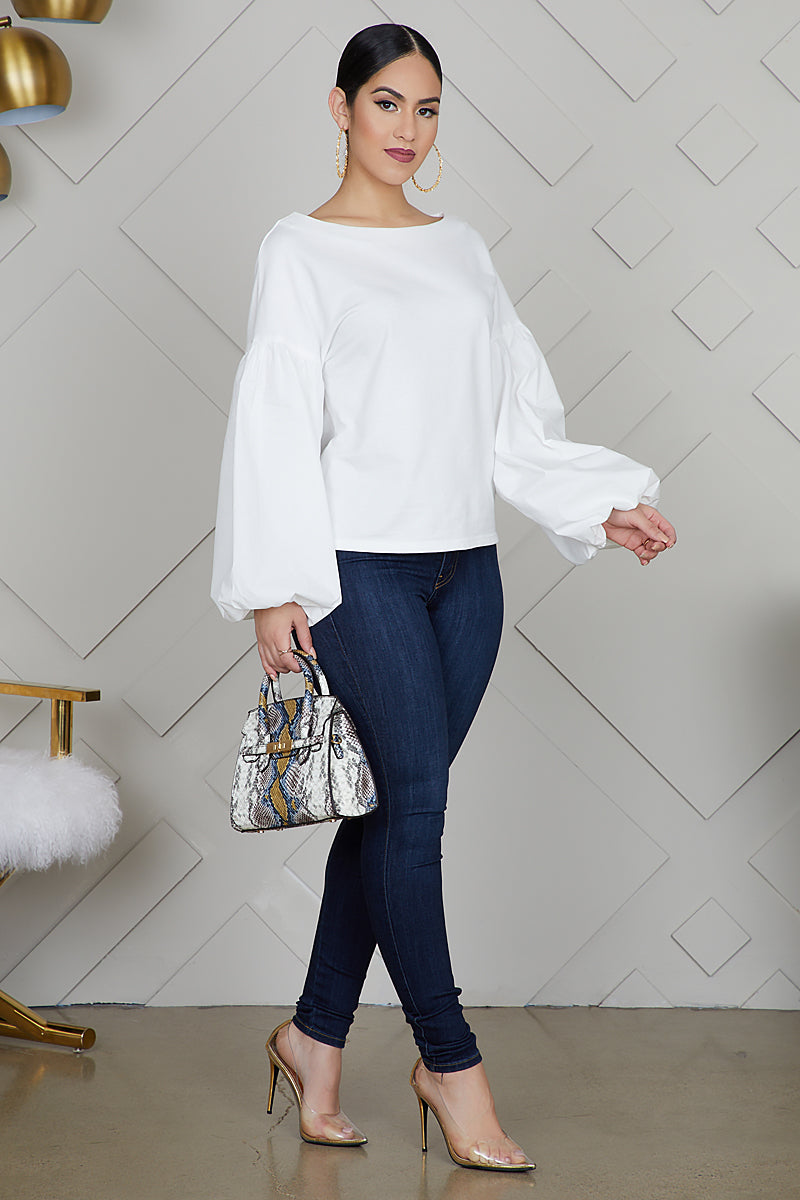 Dramatic Sleeved Top (White)- FINAL SALE