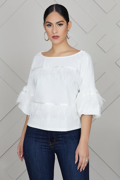 Shake A Tale Feather Top (White)- FINAL SALE