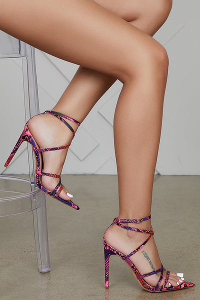 Pink Multi Color Snake Heel