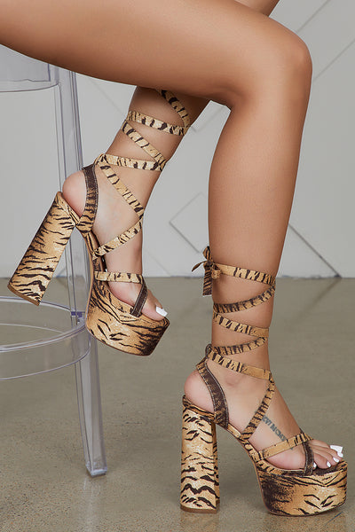 Dorola Chunky Lace Up Heel (Tiger)- FINAL SALE