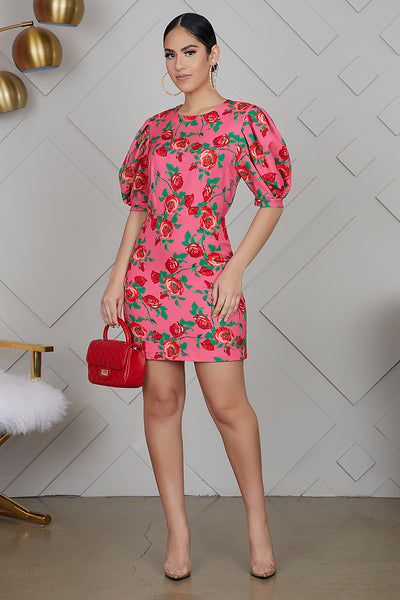 Puff Sleeve Rose Print Dress