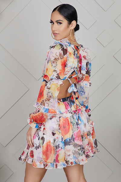 Cut Of Wild Floral Dress (Peach)